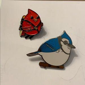 Jewelry - Enamel robin and blue jay pin set